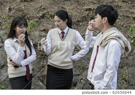 High school student's daily life, Asian teenage students wearing uniform on college with friends 340 62030844
