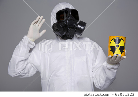 Male scientist in protective suit and antigas mask with glasses. 072 62031222