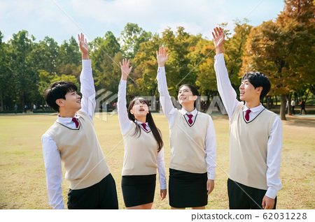 High school student's daily life, Asian teenage students wearing uniform on college with friends 054 62031228