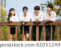 High school student's daily life, Asian teenage students wearing uniform on college with friends 008 62031244