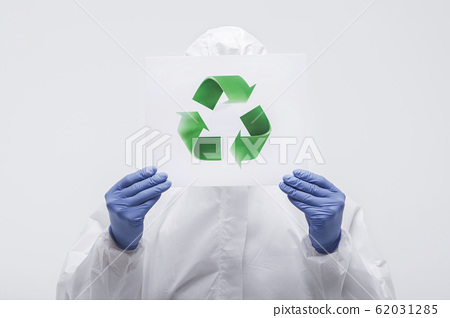 Male scientist in protective suit and antigas mask with glasses. 133 62031285