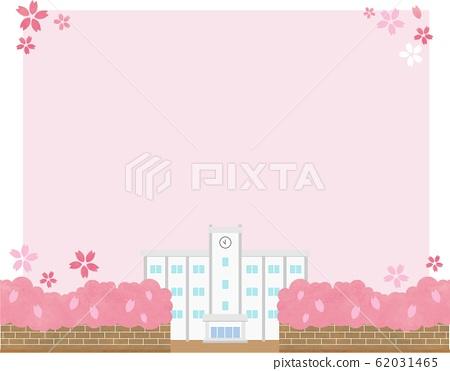 春天櫻花框架素材學校背景藍天矢量手繪 62031465