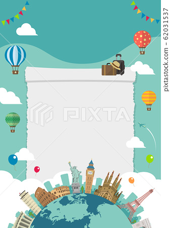 Overseas travel / vacation image illustration (poster) / World famous buildings (buildings / world heritage) without text 62031537