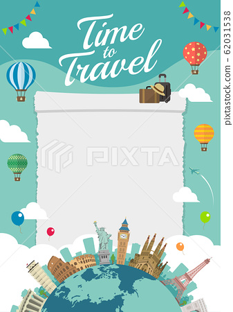 Overseas travel / Vacation image illustration (poster) / World famous buildings (Buildings / World Heritage) 62031538