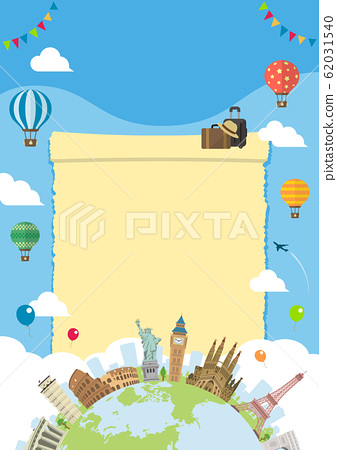 Overseas travel / vacation image illustration (poster) / World famous buildings (buildings / world heritage) without text 62031540
