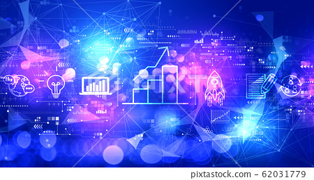 Business growth analysis with technology light background 62031779