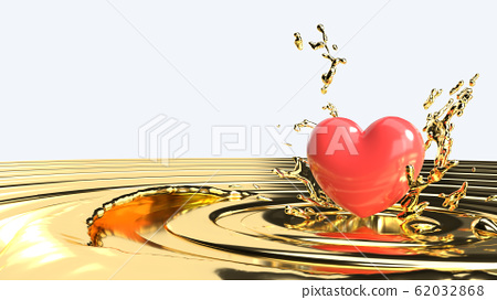 The  red heart  on gold liquid for 14  February  valentine day content. 62032868