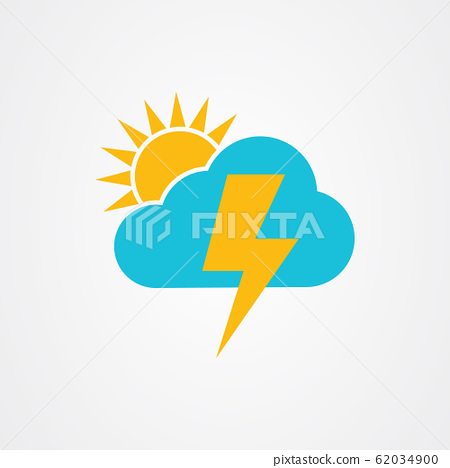 The sun and cloud with thunder icon vector design 62034900