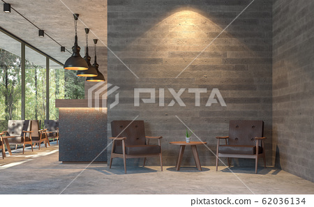 Loft style coffee shop with nature view 3d render 62036134