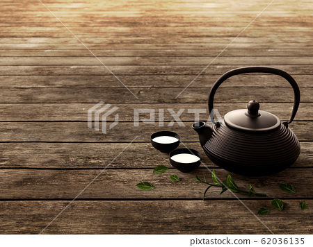Traditional eastern teapot on old wooden floor 3d render 62036135