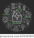 Vector black linear banner of eco home - house icon 62036464