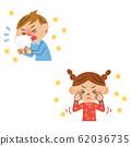 花粉发痒的眼睛,打喷嚏的孩子 62036735