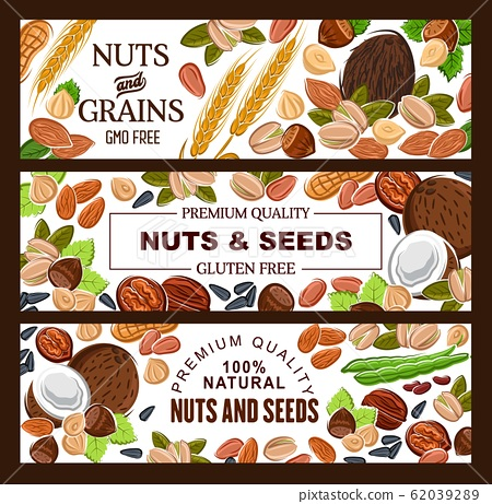 GMO free natural seeds, nuts and cereal grains 62039289