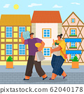 Couple with Groceries Returning Home from Shopping 62040178