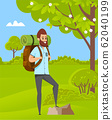 Man Hiking, Green Nature, Travel Hobby Vector 62040199