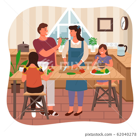 Family Cooking Meal, Parents Children in Kitchen 62040278