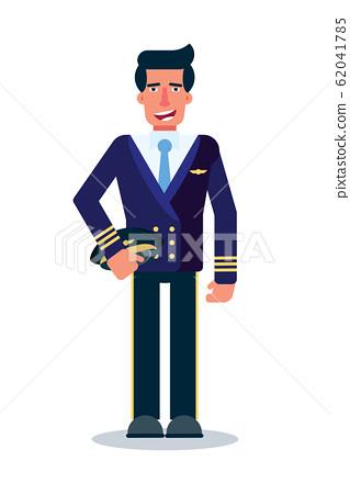 Male pilot flat vector character 62041785