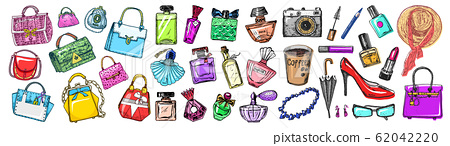 Set of women's accessories. Bags and Perfumes, shoes and coffee. Sticker Girl Collection. Hand drawn 62042220
