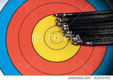 Target with large group of arrows - Archery Sport 62043456