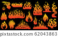 Flame and fire Set in vintage style. Hand drawn engraved monochrome bonfire or burn sketch. Vector 62043863