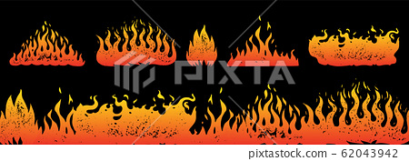 Flame and fire Set in vintage style. Hand drawn engraved monochrome bonfire or burn sketch. Vector 62043942