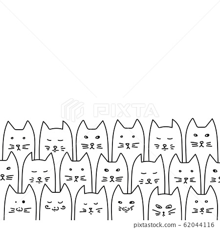 Cats sitting in a row. Animal illustration. Funny 62044116