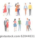People Walking in Couples, Romantic Dates Set 62044631