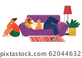 Life of Young Couple at Home Family Indoor Vector 62044632