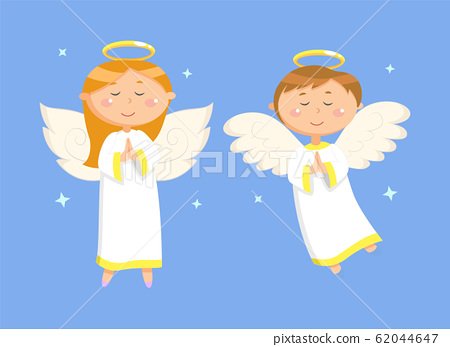 Praying Couple of Girl and Boy with Wings Vector 62044647