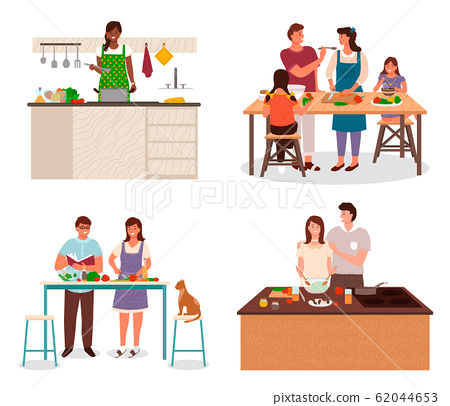 Family Preparing for Dinner in Kitchen Vector 62044653