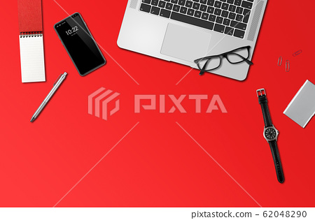 Office desk mockup top view isolated on red 62048290