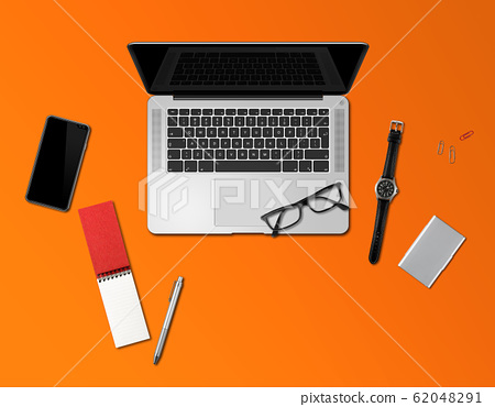 Office desk mockup top view isolated on orange 62048291