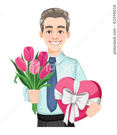 Handsome man with a bouquet of tulips 62049016
