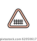 Train road attention sign, railroad tracks flat color line icon. 62050617