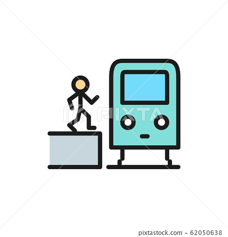 Man in metro, waggon on platform, train, subway station flat color line icon. 62050638