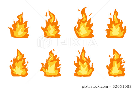 Collection of fire flames icon vector set  62051082