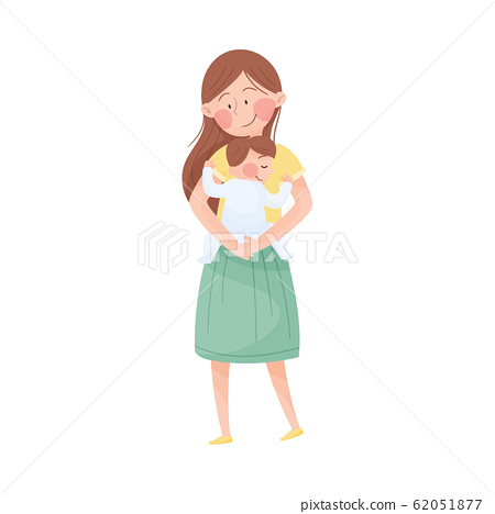 Mom and Her Kid Vector Illustration. Young Mother Holding Her Baby in Arms and Embracing 62051877