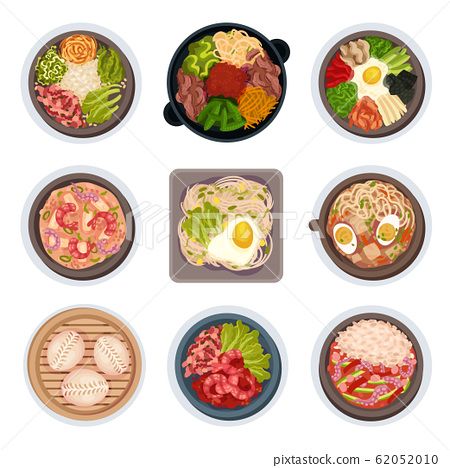 Korean Food Layouts Top View Vector Illustrations Set 62052010
