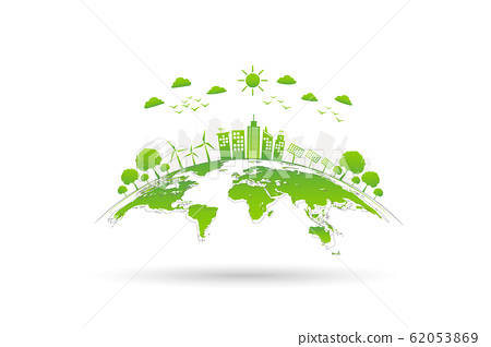 Ecology concept with green city on earth 62053869