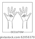 Two hands with allseeing eye drawn on palms 62056370