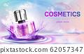 Perfume cosmetic bottle on splashing water surface 62057347