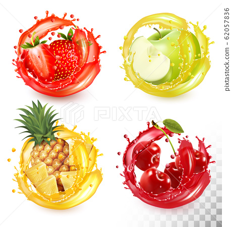 Set of fruit juice splash. Strawberry, pineapple, 62057836