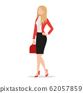 Successful businesswoman wearing black skirt and red blazer holding red handbag flat style icon isolated on white background, confident female executive standing, vector illustration. 62057859