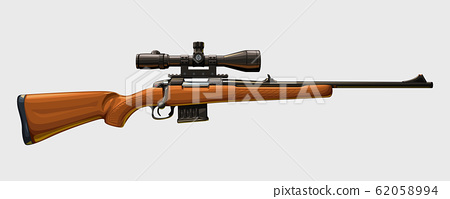 wooden sniper rifle side view 62058994