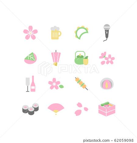 꽃놀이의 일러스트 아이콘 세트 62059098