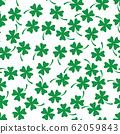 Green shamrock seamless pattern. Background of fourleaf clovers. Simple flat vector illustration 62059843