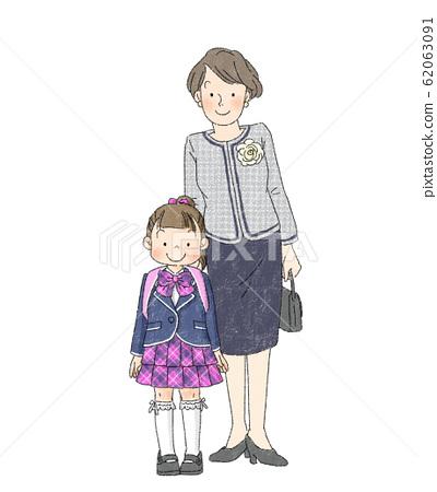 入學典禮親子女孩(媽媽) 62063091