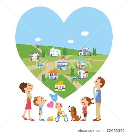 家庭抬頭看著城市的心臟 62063362
