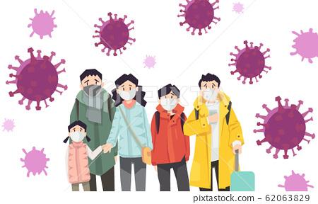 人们对正在传播的病毒感到恐惧 62063829