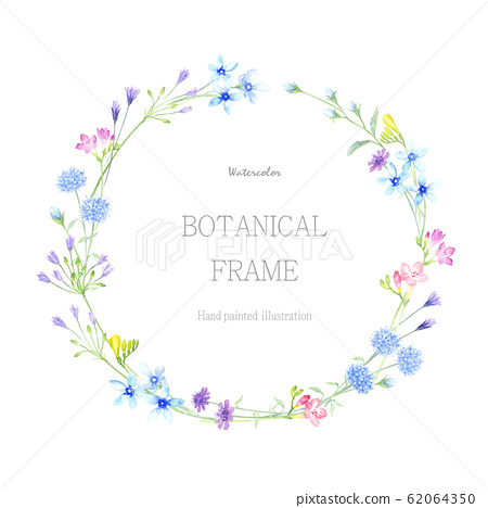 Plant wreath watercolor illustration 62064350
